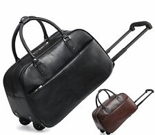 TRAVEL HOLDALL TROLLEY LUGGAGE HOLIDAY FAUX LEATHER WEEKEND BAG CABIN SIZE BAG