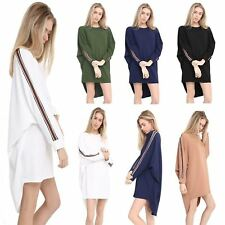 Ladies Batwing Oversized Stripe on Side Sleeve Baggy Blouse Tunic Dress Top 8-22