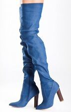 Ladies Womens Over The Knee Thigh High Pointed Toe Block Heel Boots Size UK 5