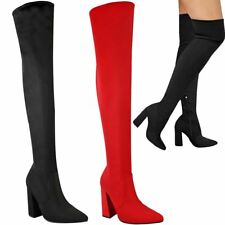 ce7d574394c2b0 Womens Ladies Pointy Toe Block Heels Over The Knee Stretch Thigh High Boots  Size