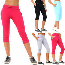 Womens Cropped 3/4 Capri Trousers Ladies Casual Pant Pockets Jog Stretchy Shorts