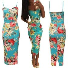 Womens Bodycon Ladies Floral Print Strappy Tropical Summer Celeb Style Midi Dres