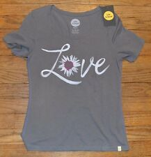 Life Is Good Manica Corta T-Shirt Aderente Grigio Love Girocollo Originale