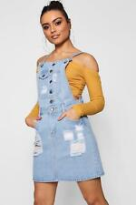 Boohoo Womens Eyelet Detail Denim Pinafore Dress