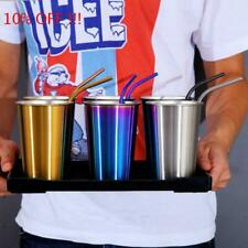 500ML Stainless Steel Cup Travel Tumbler Coffee Mug With Drinking Straw---