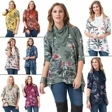 Womens Top Ladies Button Tab Flower patterned Scarf Italian Lagenlook Crew Neck