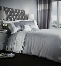 Catherine Lansfield Luxor Jacquard Silver Duvet Cover Set S/D/K With Accessories