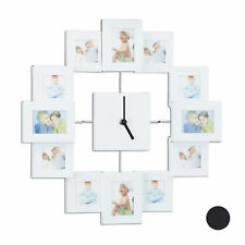 Marco de fotos múltiple con reloj de pared, Para collages, Aluminio, 3 colores