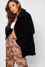 Boohoo Womens Double Breasted Teddy Faux Fur Coat