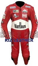 LAWSON MARLBORO MOTORCYCLE RACING SUIT IN COWHIDE LEATHER WITH CE ARMOUR