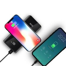 10000mAh QI Wireless Charger Dual USB Power Bank For iPhone X 8 Samsung S8
