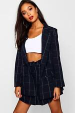 Boohoo Womens Woven Double Breasted Window Pane Check Blazer