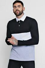 Boohoo Mens Long Sleeve Colour Block Rugby Polo