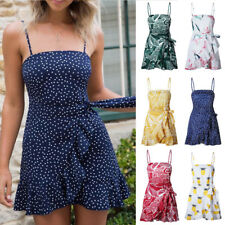 Women Maxi Strappy Dress Evening Summer Boho Floral Tie Beach Mini Sexy Holiday