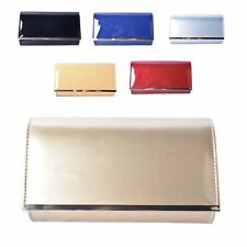 Ladies Plain Patent Clutch Bag Glossy Envelope Evening Bag Purse Handbag MMX34