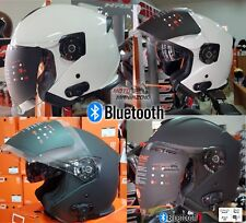 CASCO JET CON INTERFONO BLUETOOTH INTEGRATO PALIO 2.0 BT NERO OP,BIANCO LUCIDO