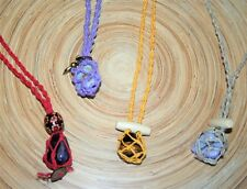 Interchangeable Crystal Holder Necklace Pouch includes Tumble Stone Zen New Age