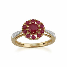 Gemondo 9ct Yellow Gold 1.08ct Ruby & Diamond Floral Ring