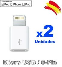 Adaptador Micro USB a 8 PIN Lightning Apple iPhone 5/6/7/8/X iPad Dock x1 x2 x4