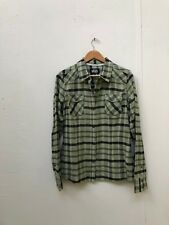 VANS Off The Wall Womens Fade Plaid Flannel LS Shirt- Various Sizes - Green -New