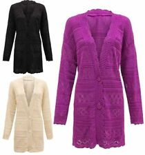 Womens 2 Button Crochet Knitted Cardigan Ladies Long Sleeve Open Front Sweater