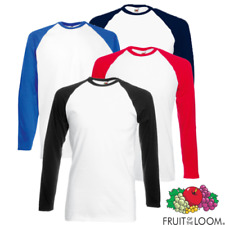 Fruit Of The Loom SS028 Hombre Contraste Manga Larga Béisbol Camiseta Deporte