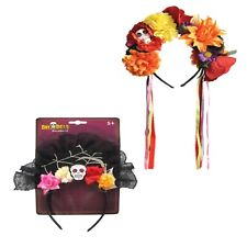 Halloween Day Of The Dead Tiara Girls Headband Flower Sugar Skull Lace Mexican