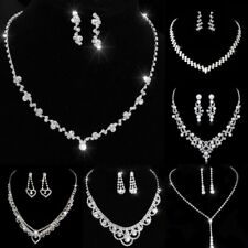 Wedding Bridal Womens Jewellery Sets Crystal Silver Pendant Necklace Earrings