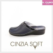 CINZIA SOFT PANTOFOLA DONNA PELLE COLORE BLU H 4 CM NEW COLLECTION MADE IN ITALY