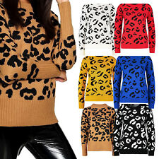 Womens Ladies Leopard Print Long Sleeve Knitted Jumper Pullover Sweater Top 8-22