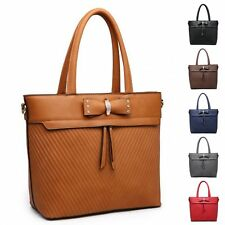 Ladies Quilted Bucket Handbag Faux Leather Bow Shoulder Bag Tote Bag MW5167