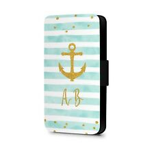 Personalised Phone Case Name Initial Gold Faux Leather Flip Phone Case Cover