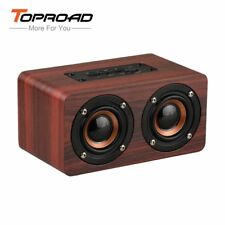 TOPROAD® HIFI Wood Wireless Enceinte Bluetooth Speaker Portable Dual Speakers