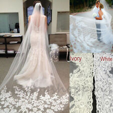 3M White Ivory 1T Cathedral Applique Edge Lace Bridal Wedding Veil With Comb UKE