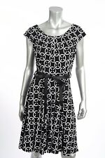 Joseph Ribkoff Black/White Fit-and-Flare Dress with Ribbon Belt 172865 NEW