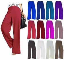 Ladies Plain Wide Leg Flared Palazzo Women Stretch Trousers Full Pants Plus Size