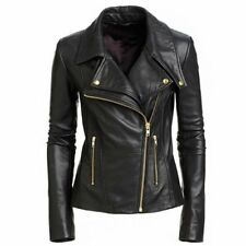 Women's Black Genuine Sheepskin Leather Biker Style Ladies Slim Fit Jacket