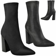 Womens Ladies Stretchy Calf Block High Heels Ankle Boots Pointed Toe Shoes Size