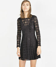 GORGEOUS ZARA BLACK GUIPURE LACE DRESS SIZE  M
