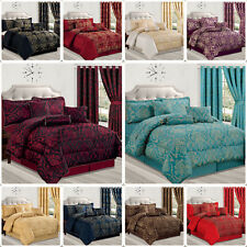 Quilted Bedspread 7 Piece Jacquard Bedding Comforter Set with Eyelet Curtains