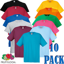 10 x Fruit Of The Loom UOMO T-Shirt Maglietta Cotone Tinta Unita All'Ingrosso