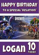 FORTNITE SAVE THE WORLD PERSONALISED BIRTHDAY CARD -2 SIZES ANY NAME, AGE