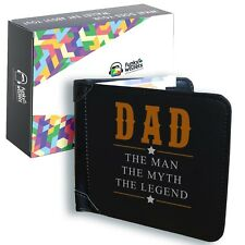 Mens Black Leather Wallet Dad Fathers Day Proud Credit Card Holder Bifold Money