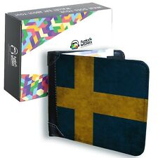 Mens Black Leather Swedish Flag Wallet Sweden Credit Card Holder Bifold Money