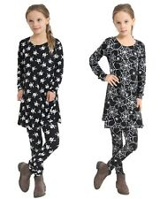 Childs Black Spider and Skull Printed Dress Set Girl Fancy Dress Party Costume