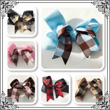 """6"""" Hair Bow Plain bow with check middle crocodile clip New fashion accessories"""