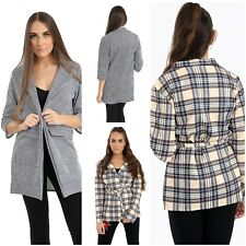 Womens Houndstooth Multi Check Print Long Sleeve Open Blazer Top 8-14