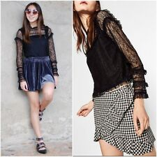 ZARA BLACK  FRILLED LACE TOP WITH LONG SLEEVES SIZE M