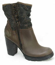 Bottines boots talons BUNKER  femme cuir marron HAN MO28 taille 37