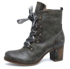 SALE NEW MUSTANG WOMENS GREY HIGH ANKLE CHUNKY BLOCK HEEL LADIES BOOTS LACE UP